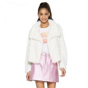 NEW Wild Fable Drape Cozy Faux Fur Jacket XL Ivory